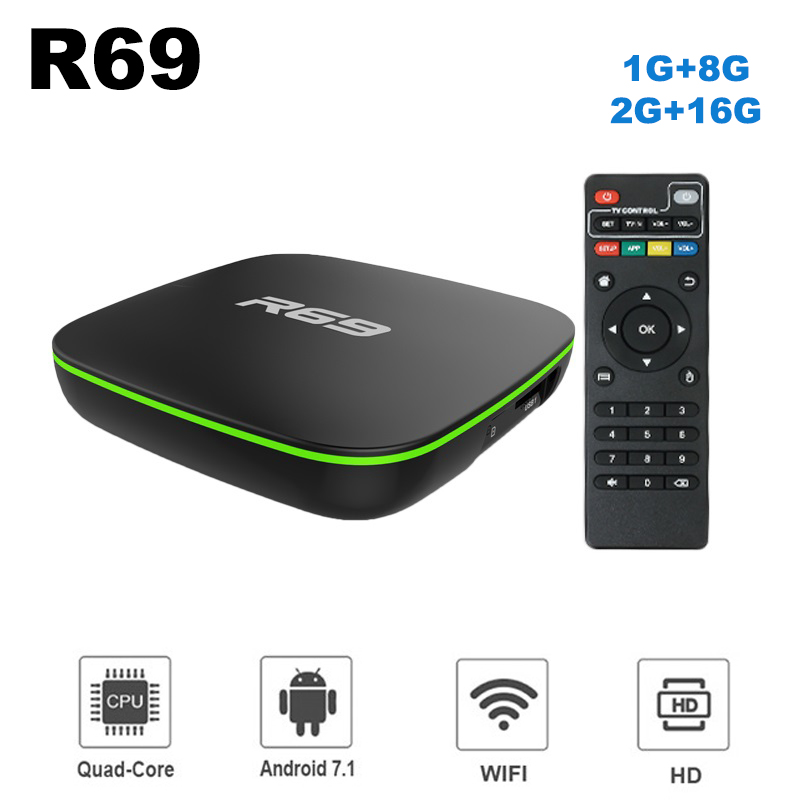 Wechip Smart TV Box R69 Android 7.1 1 GB 8 GB Allwinner H3 Quad-Core 2.4G Wifi Set top Box 1080 P HD 2 GB 16 GB movie Media player T9Wechip Smart TV Box R69 Android 7.1 1 GB 8 GB Allwinner H3 Quad-Core 2.4G Wifi Set top Box 1080 P HD 2 GB 16 GB movie Media player T9