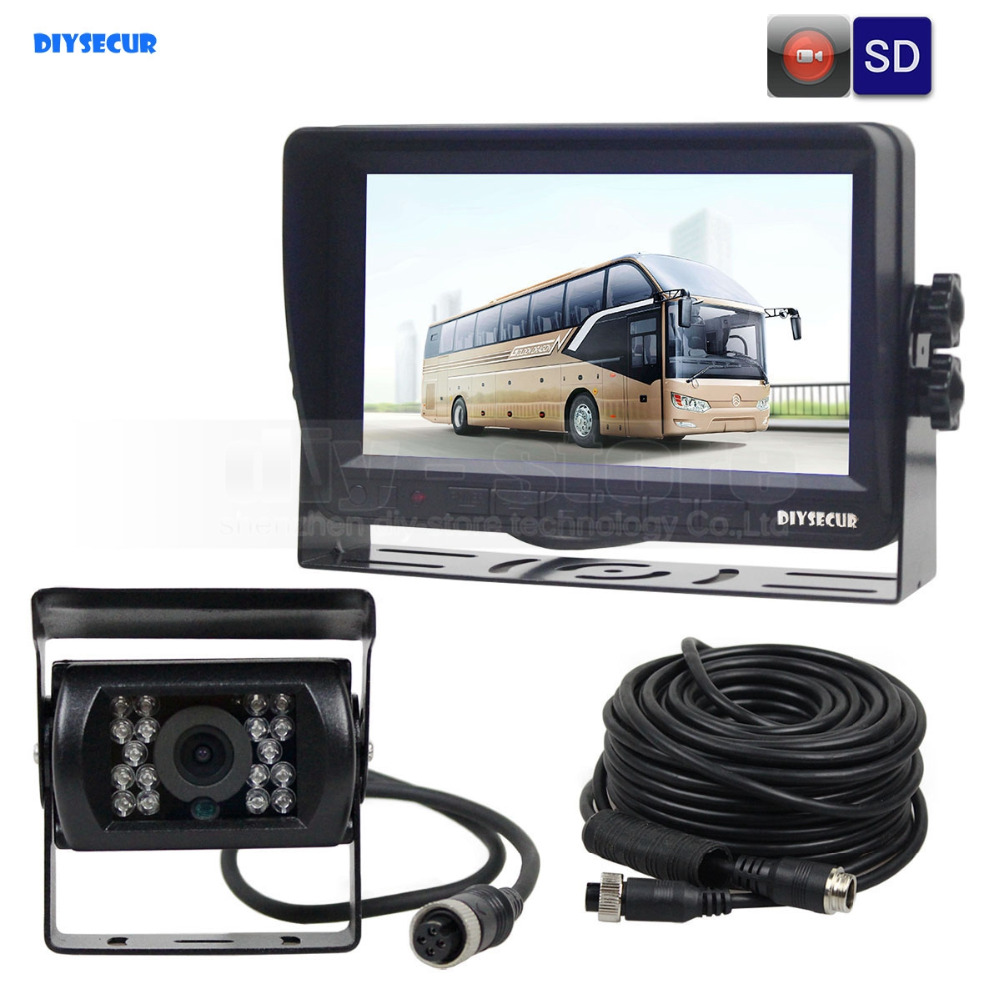 DIYSECUR AHD 7inch TFT LCD Car Monitor Rear View Monitor Waterproof IR 1300000 Pixels AHD Camera