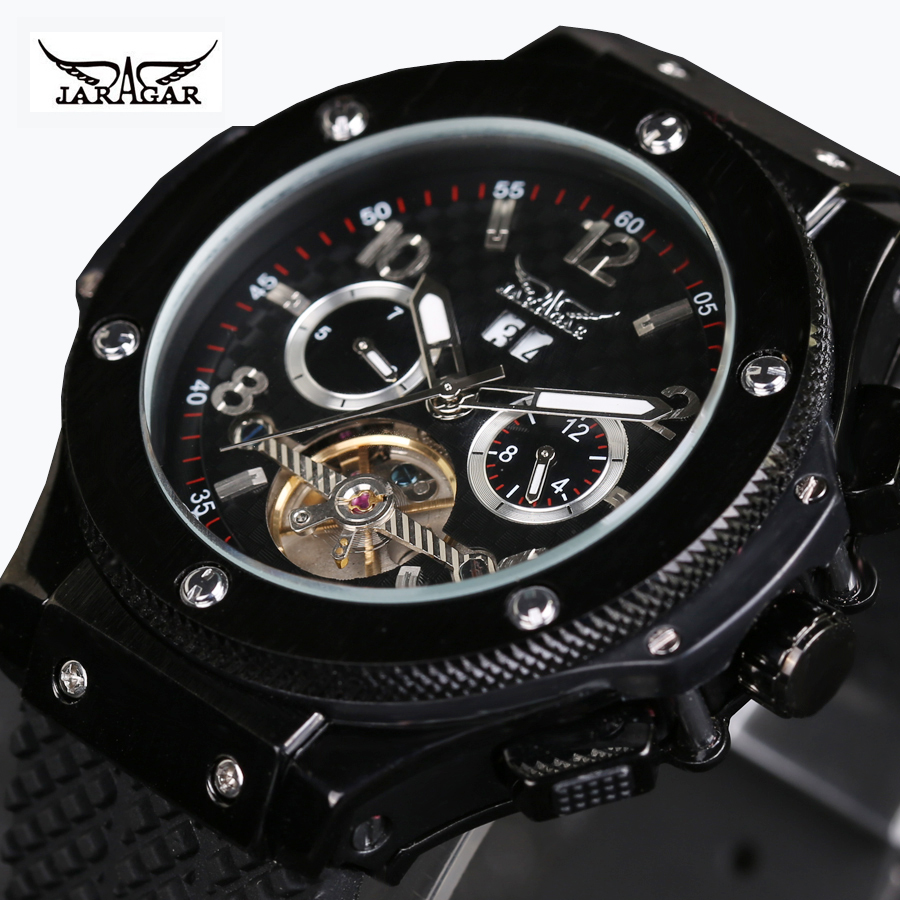 JARAGAR Brand Luxury Automatic Mechanical Tourbillon White Black Men Wrist Watch Men's Watches 2016 New Free Ship цена