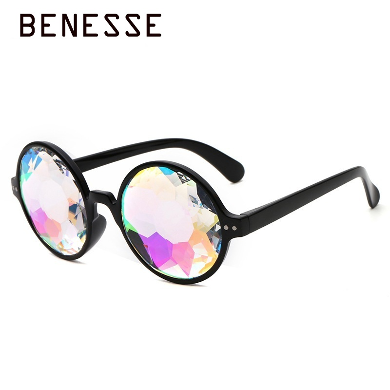 2018 Round Kaleidoscope Sunglasses Women Black uv400 Sun Glasses High Fashion Holographic Bling Ladies Glasses Pink Transparent