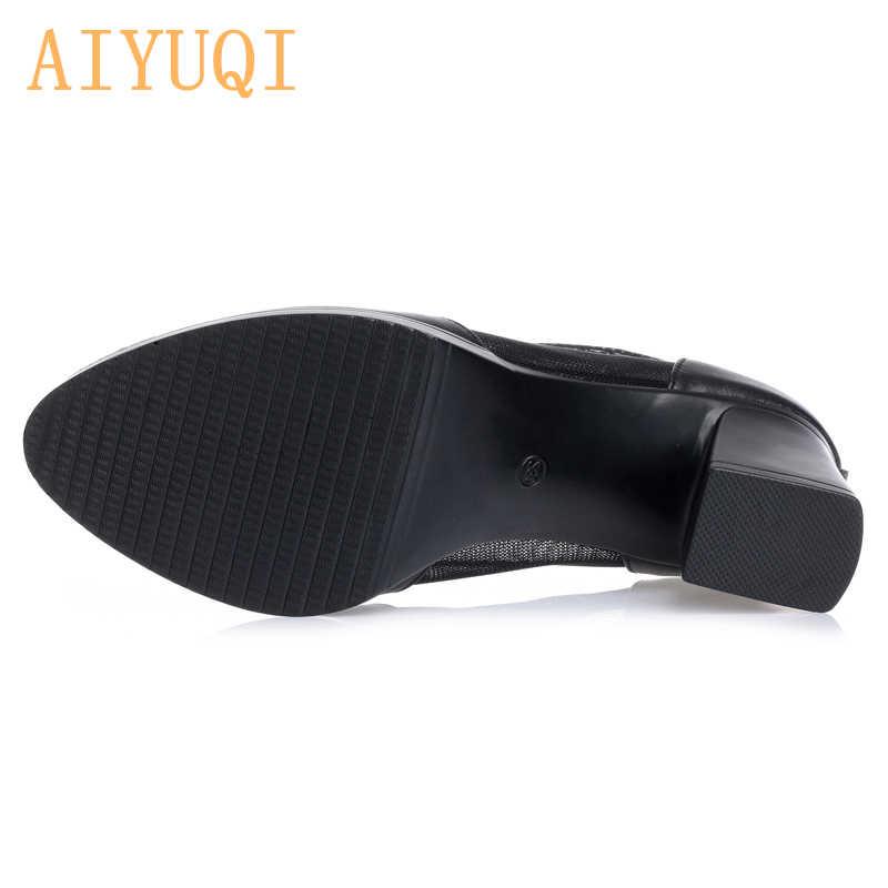 AIYUQI/Летняя женская обувь из сетчатого материала; Модные дышащие женские босоножки; туфли-лодочки на высоком каблуке; пикантные весенние сапоги до середины икры