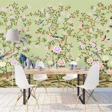 Beibehang пользовательские обои 3d фото фрески ручная роспись Винтажные Цветы и птицы фон стены гостиной спальни обои
