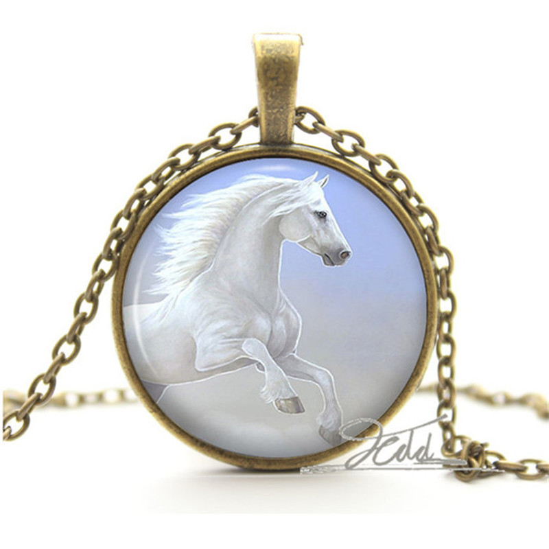 07ede361dcaf Caballo Blanco COLLAR COLGANTE-plata regalos para Niñas-pequeña princesa  foto de la joyería colgante encanto Collares