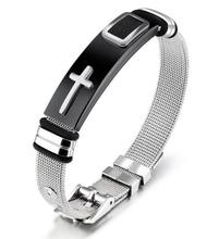 Adjustable Length Bracelet for Women Men Bangle Watch Band Design Stainless Steel Net Band Christ Cross Prayer Male Jewelry length adjustable strap bracelets for man women watch band style stainless steel net band christian cross prayer male jewelry