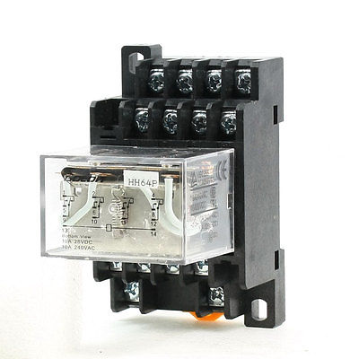 35mm DIN Rail 12V AC Coil 4PDT 14P General Purpose Power Relay LY4J w Base  Free Shipping