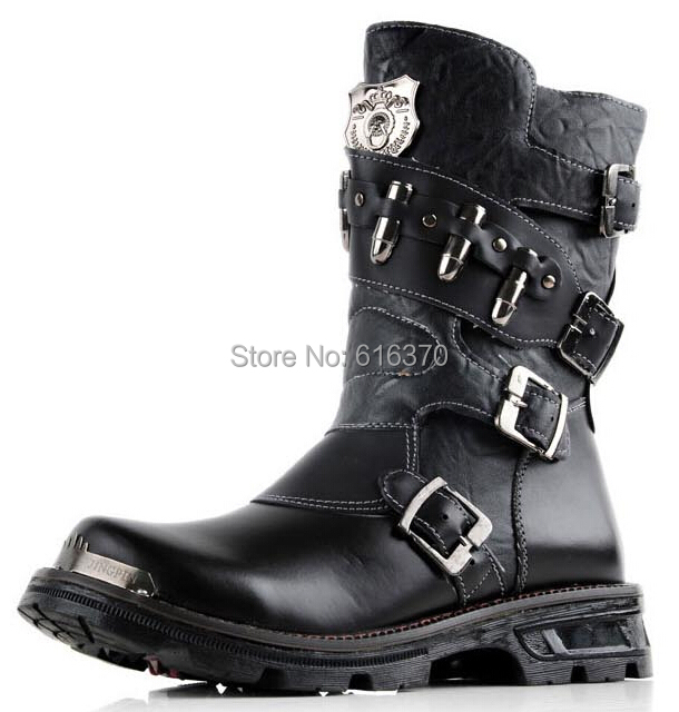 2014 New Men's Mid-Calf Half Boots,Buckles Zipper PU Leather Outdoor Martin Cowboy Winter Boots,High-Top Shoes,US Size 6.5-11 - Punk Boots Store store