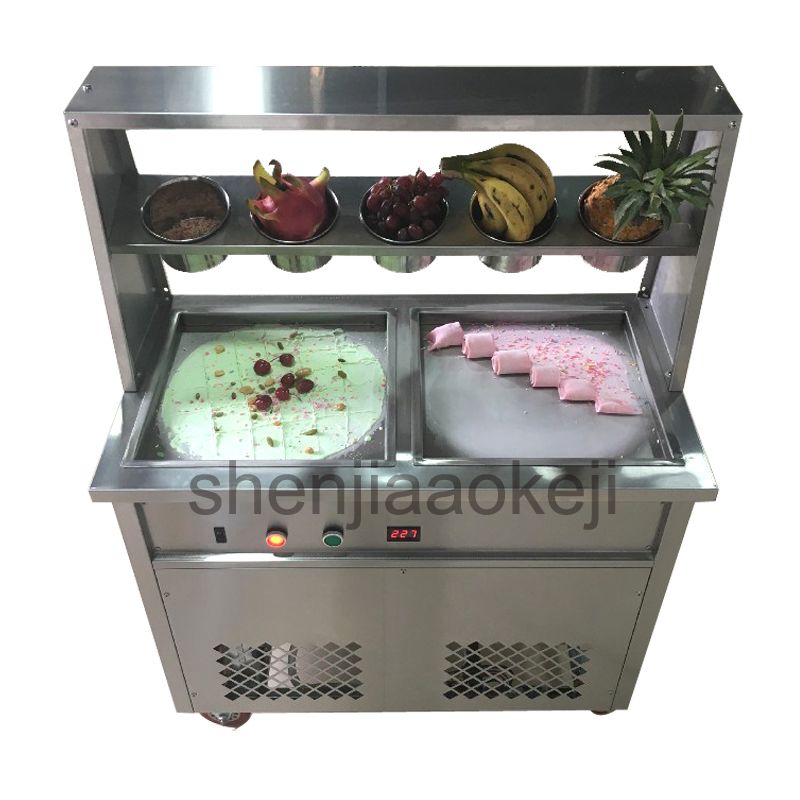 1pc Stainless Steel Double Pan Fried Ice Cream Maker Fried Yogurt Machine Fry Ice Cream Roll Machine 220v/110V