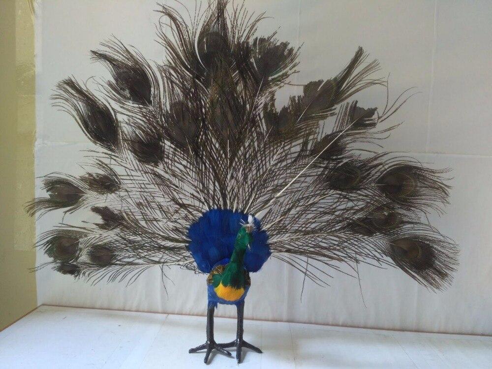 Belle simulation paon modèle polyéthylène & fourrures coloré paon poupée modèle cadeau environ 50x40 cm 1464