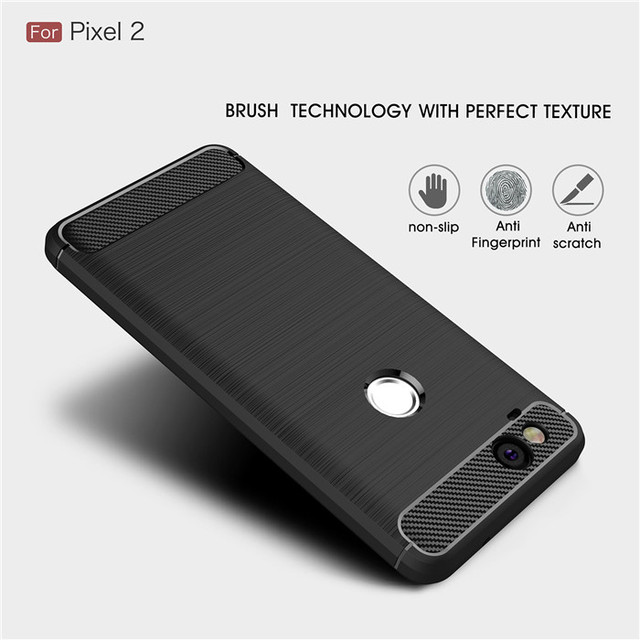 For Google Pixel 2 / 2XL case Luxury Slim Armor Soft Silicone Phone Back Cover for Google Pixel 2 XL Brushed Carbon Fiber Coque