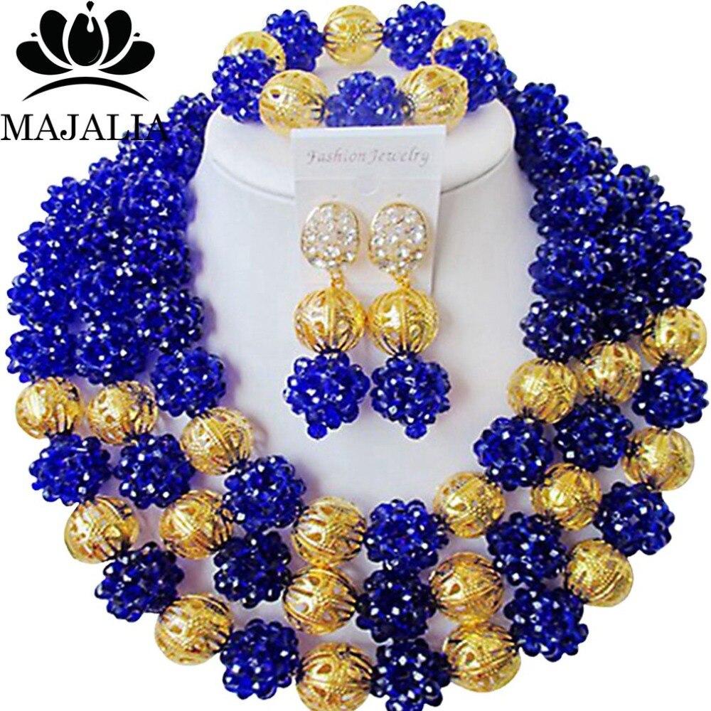 Trendy Nigerian wedding African beads jewelry set crystal Royal Blue necklace bracelet earrings A well-known brand Majalia  Y-13Trendy Nigerian wedding African beads jewelry set crystal Royal Blue necklace bracelet earrings A well-known brand Majalia  Y-13