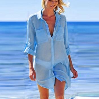 2019 Solid Women Swimwear Beach Cover Up Perspective Beach Dress Kaftan Beach Wear Blouse Shirts Pareos De Playa Saida De Praia 5