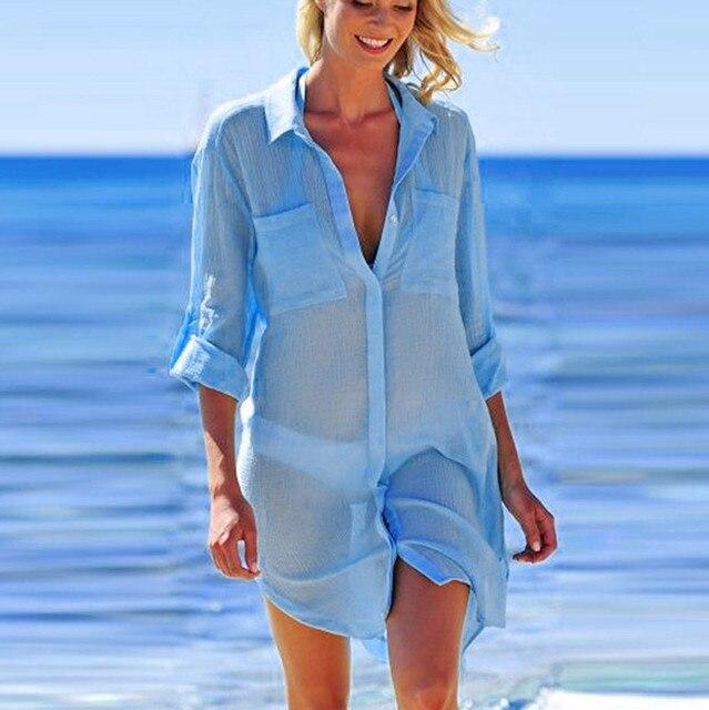2019 Solid Women Swimwear Beach Cover Up Perspective Beach Dress Kaftan Beach Wear Blouse Shirts Pareos De Playa Saida De Praia 8