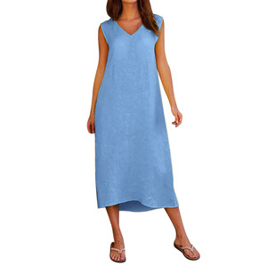 Женское длинное пляжное платье без рукавов, с V-образным вырезом