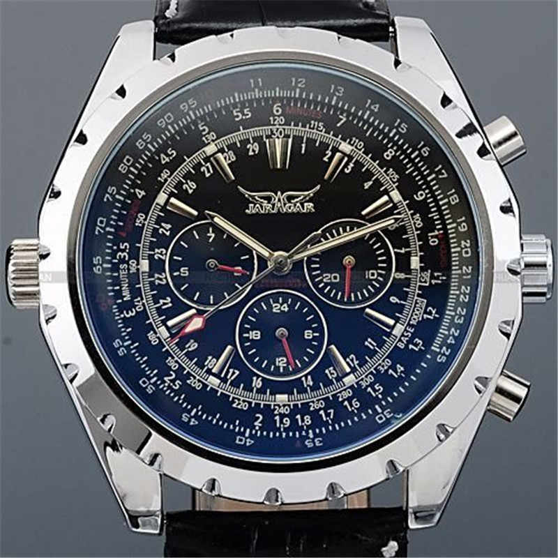 JARAGAR 腕時計トップの高級ブランド Relojes 軍ミリタリー自動機械式時計レザーストラップの腕時計男性腕時計
