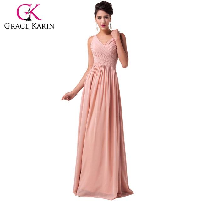Grace Karin Long Evening Gowns Dark Salmon Blue Lilac Deep V Chiffon ...