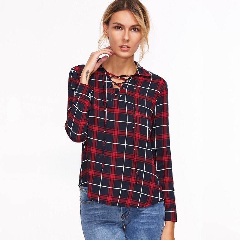 Women V Neck Long Sleeve Hollow Out Vintage Blouse font b Tartan b font Plaid Lace
