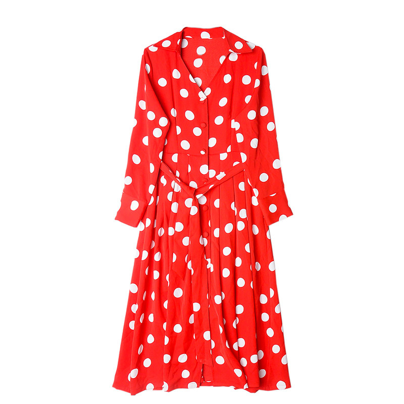 Kadın Giyim'ten Elbiseler'de 2019 ilkbahar ve yaz kadın elbise yeni Bohem tarzı mizaç dalga noktası elbiseler yay bel seti Bir Çizgi Elbise'da  Grup 1