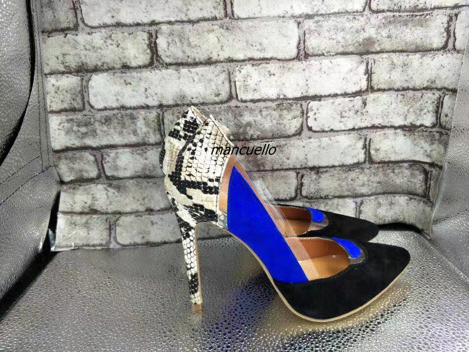 New Trendy Design Color Patchwork Suede Heels Sexy Women Snakeskin Pointy Stiletto Heel Pumps Fashion Size Clear Slip-on Shoes цена 2017