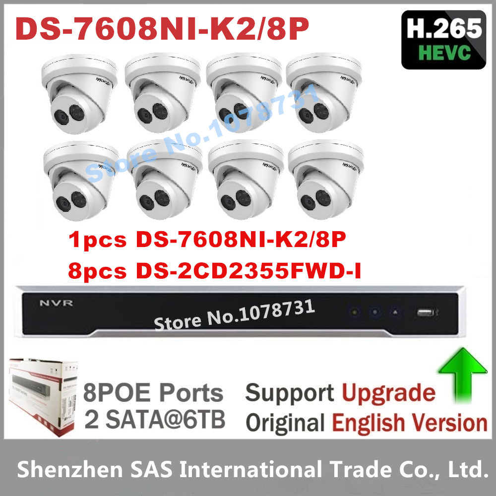 Hikvision DS-7608NI-K2/8P Embedded Plug & Play 4K NVR + 8pcs Hikvision 5MP H.265 IP Camera DS-2CD2355FWD-I Surveillance Camera 4pcs hikvision surveillance camera ds 2cd2155fwd i 5mp dome h 265 ip camera hikvision ds 7604ni k1 4p 4ch 4poe 4k nvr one sata