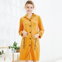 NG0302 Autumn Winter Women Nightgowns Sexy Velvet Night Dress Lady Sleepwear with Pocket Turn Down Collor Nightwear Women Gowns