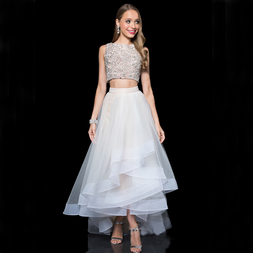 d5ba4e278bc WP1599 Luxury Crop Top Beading Crystal Royal White Formal Long Prom Dress  2016 Sexy O Neck Vestido De Fiesta-in Prom Dresses from Weddings & Events  on ...