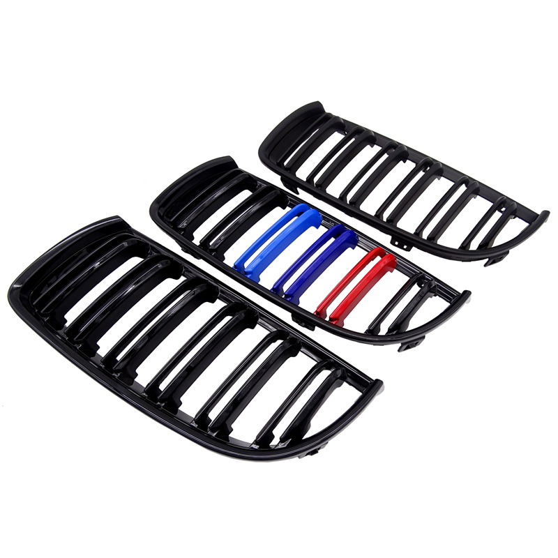 1 Pair Gloss Matt Black M Color 2 Line Front Kidney Grille Grill Double Slat For BMW E90 E91 3 Series 2004 2005 2006 2007 in Racing Grills from Automobiles Motorcycles