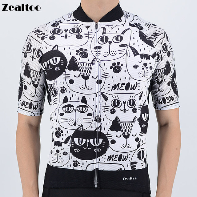 dd8999b3f Zealtoo 2018 Black White Cat Cycling Jersey Short Sleeve Bicycle Bike  Clothing for Men Ropa Ciclismo Summer Cycling Wear Clothes