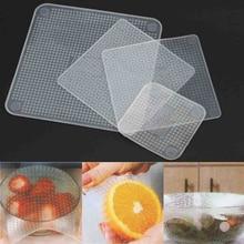 4 шт./компл. многоразовые силиконовые Еда свежие стрейч Обёрточная бумага печать пленки чаша крышка для домашнего хранения Кухня инструменты