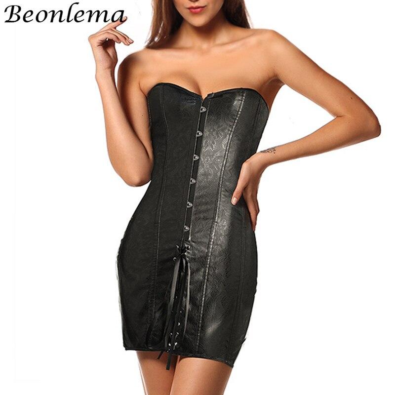 BEONLEMA Women Sexy PU Leather Strapless Bondage Corset Dress Sheaths Charming Corsetto Sexy Black S-2XL Backless Bustier Corset
