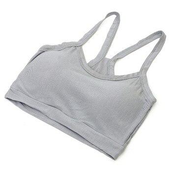 New Women Solid Strap Underwear Cotton Yoga Bra Vest Crop Top Running Gym Sports Bra 8 Colors 2