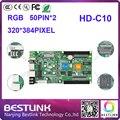 Atacado placa de cartão de controle de led ao ar livre tela led controlador huidu hd-c10 cartão 320*384 pixel 50 pinport rgb vídeo cartão de controle