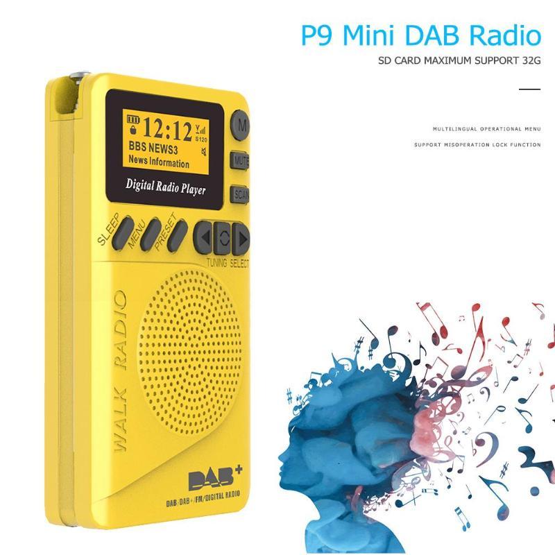 P9 mini bolso dab rádio digital play fm digital demodulador portátil mp3 player com tela de exibição lcd multimídia player