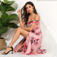 Chiffon Fashion Elegant Butterfly Sleeve Zipper Splice High Split Long Dress Flower Print Strapless High Waist Women Maxi Dress tropical print split sleeve elasticized waist dress