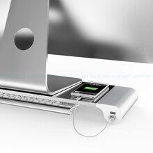 Dsupportアルミ合金デスクトップモニタースタンドスペースバー指令と4ポートusb充電用のimac、macbook pro、空気