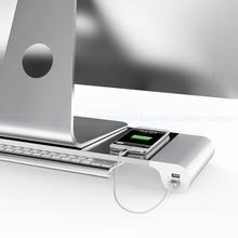 Dsupport סגסוגת אלומיניום שולחן העבודה מעמד צג מעמד מחשב נייד שטח בר Riser עם יציאות USB טעינה עבור iMac, ה macbook Pro, אוויר