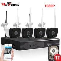 Sistema de CIRCUITO CERRADO de televisión Inalámbrica 1080 P HD Impermeable Al Aire Libre 20 m Seguridad de la Visión Nocturna P2P Wifi Cámara IP NVR de Vídeo Kit de vigilancia