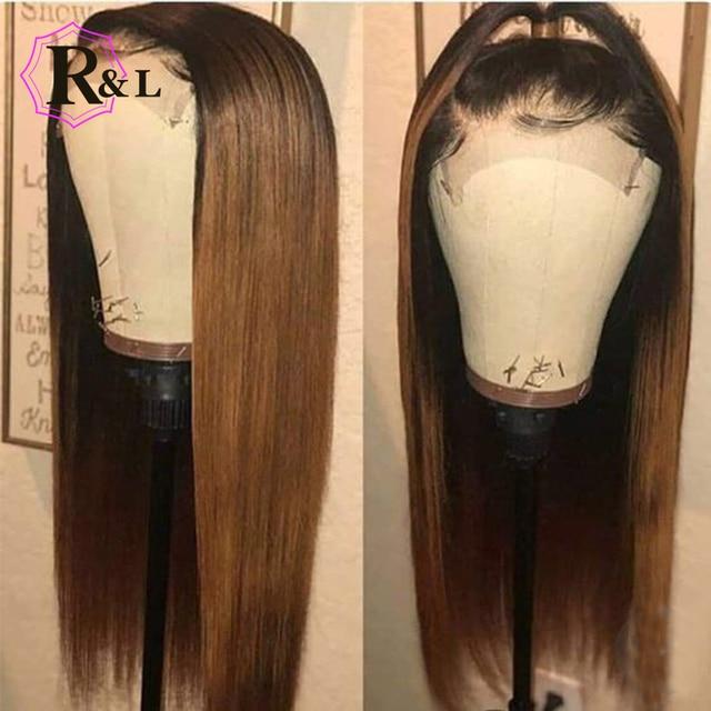 Pelucas de pelo humano frontales con encaje de Color RULINDA 1B/27 con pelo de bebé Remy brasileño recto 13*4 parte de la peluca del cordón del pelo