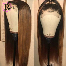 RULINDA Human-Hair-Wigs Lace-Wig Free-Part Non-Remy-Hair Ombre-Color Straight Brazilian