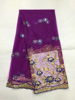 5 Yards/pc Nice looking purple french net lace with gold sequins african mesh lace fabric for dress JN4-1