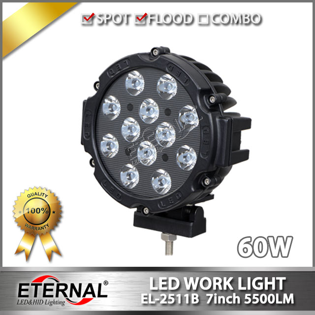 6pcs 7in 60W driving light truck trailer transportation vehicles heavy construction agriculture equipment LED work light