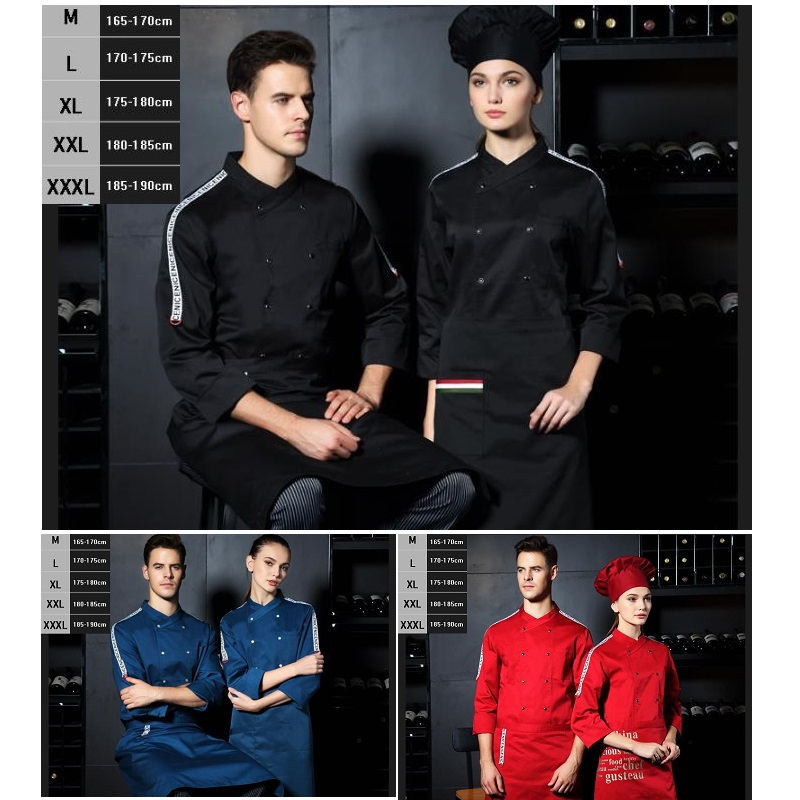 10pc S Canteen Chef Wear Long Sleeved Clothes And Hotel Restaurant Fast-food Restaurant Kitchen Uniform Thick Style By