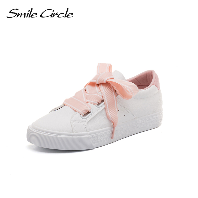 Smile Circle Women White Sneakers Fashion Lace up Flat Shoes For Women Comfortable Vulcanized shoes sneakers 2018