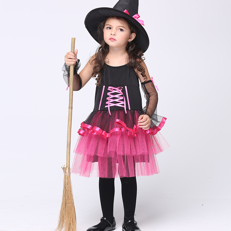 ФОТО Carnival Halloween Cosplay Costume 2016 Kids Children Clothing Baby Girl 1 Witch Tutu Dress + 1 Hat Cap Princess Party Dresses