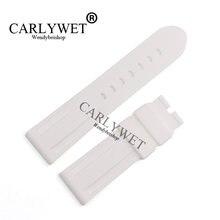 Carlywet 24 мм Мужские Белые Водонепроницаемые силиконовые резиновые
