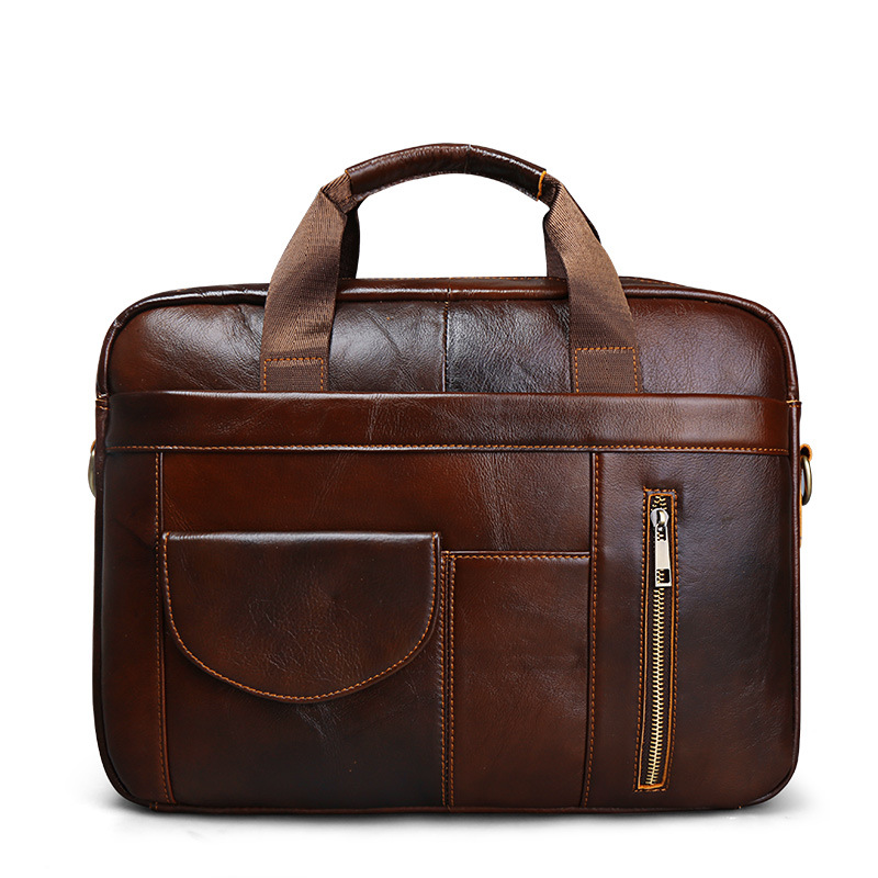 Business Handbag Briefcase-Bag Genuine-Leather Tote Computer Laptop-Shoulder-Bags Male