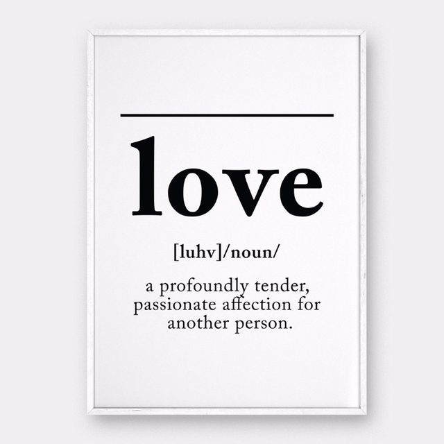 Love definition wall art canvas painting black white poster print nordic scandinavian pictures for bedroom home