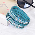 New Punk Style Crystal Bead Braided Bracelet Multi Layers Leather Wrap Bracelet For Women Cuff Wristband Pulseiras Femininas