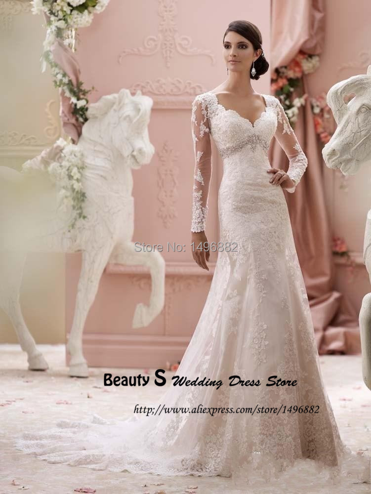 New Spring Pink Blush Lace Wedding Dress Long Sleeve Vestidos De ...