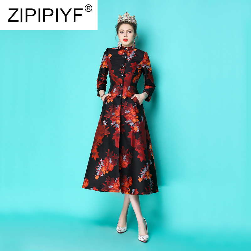 2019 Spring Fashion Women Vintage Long Trench Floral Embroidery Single breasted New Years Long Coats Casual