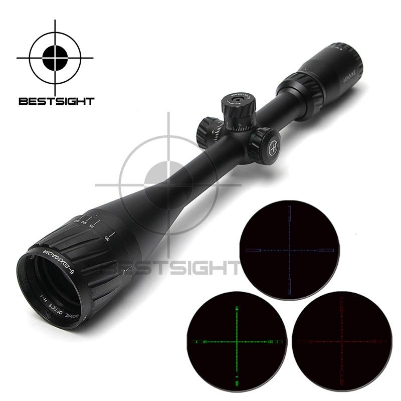 Hawke 5-20X50 AOIR Hunting Scopes Red &Green&Blue Optical Sight Riflescope Rifle Scope  for Airgun Air Rifle Luneta Para Rifle 5 20x44 aoir scopes red